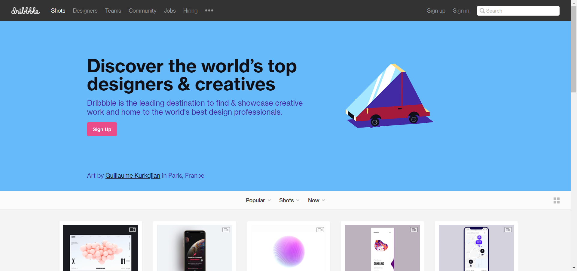 Dribbble website image
