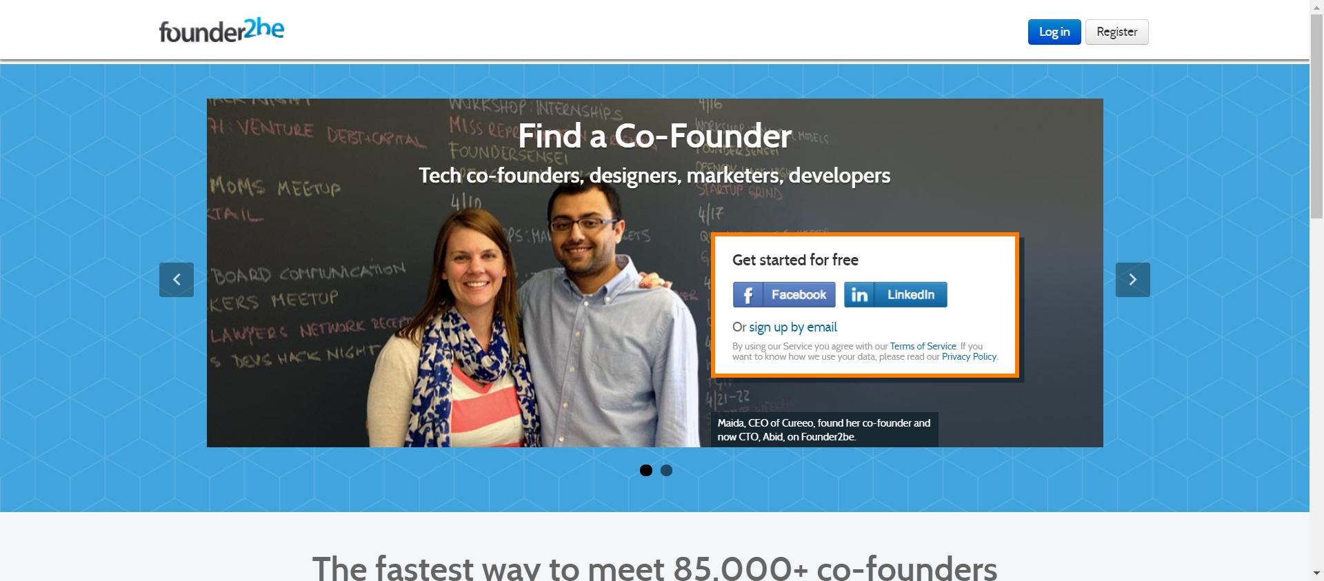 Founder2be website image