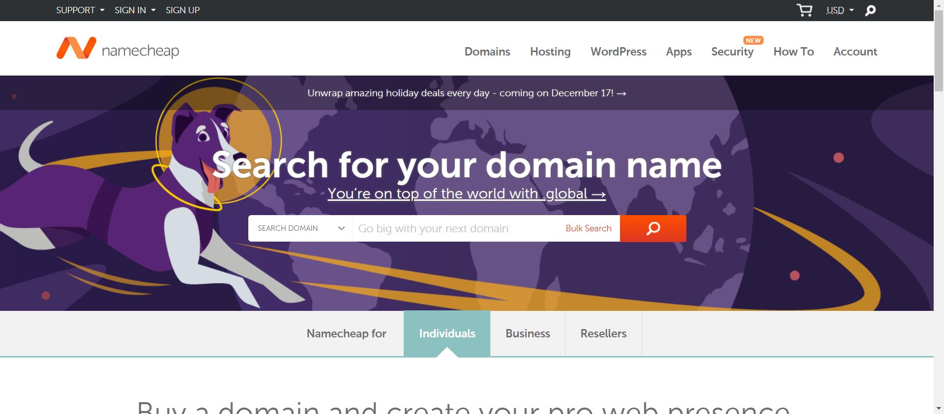 Namecheap website image