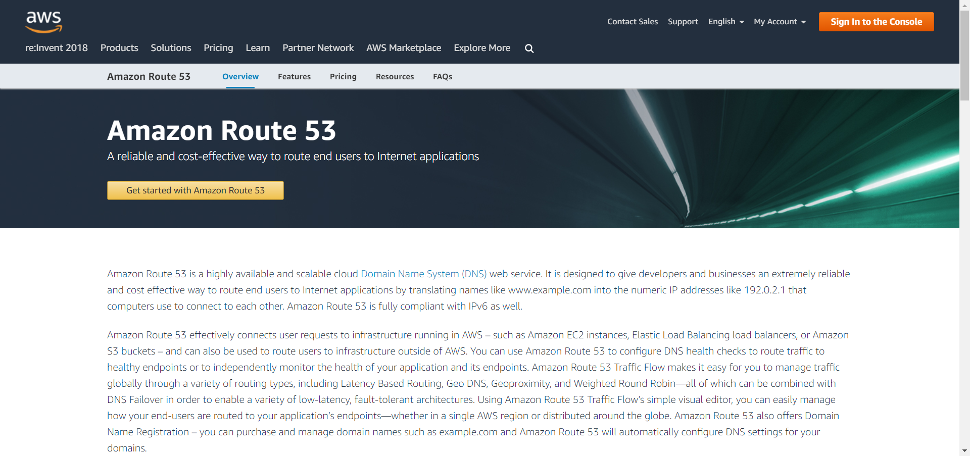 AWS Route 53 website image
