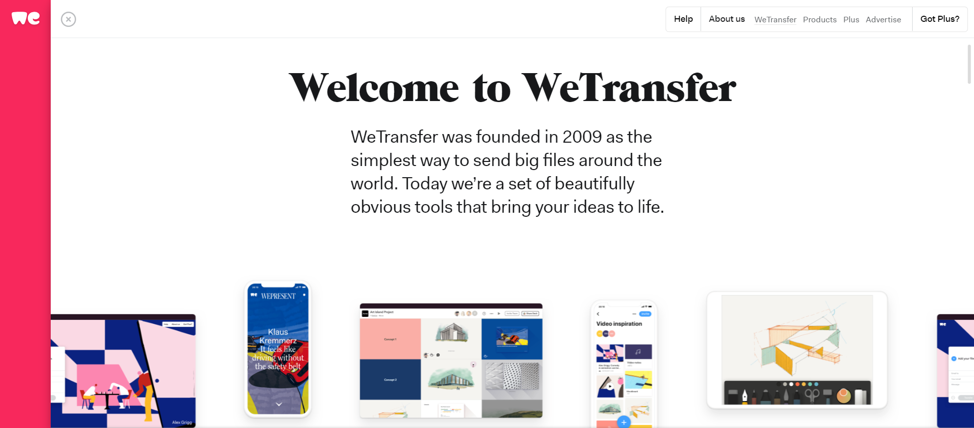weTransfer website image